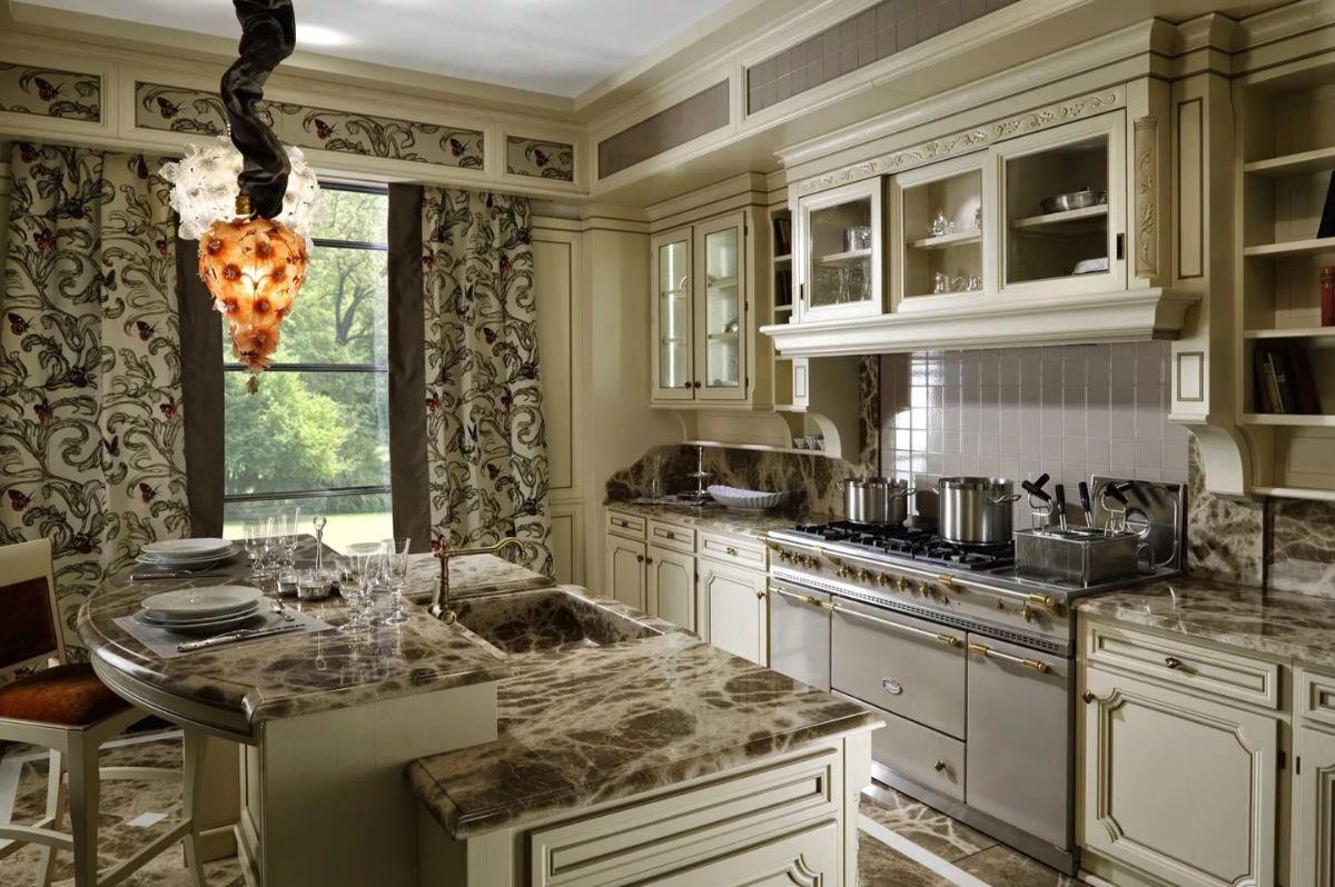 кухня в итальянском стиле бледно оливковый цвет