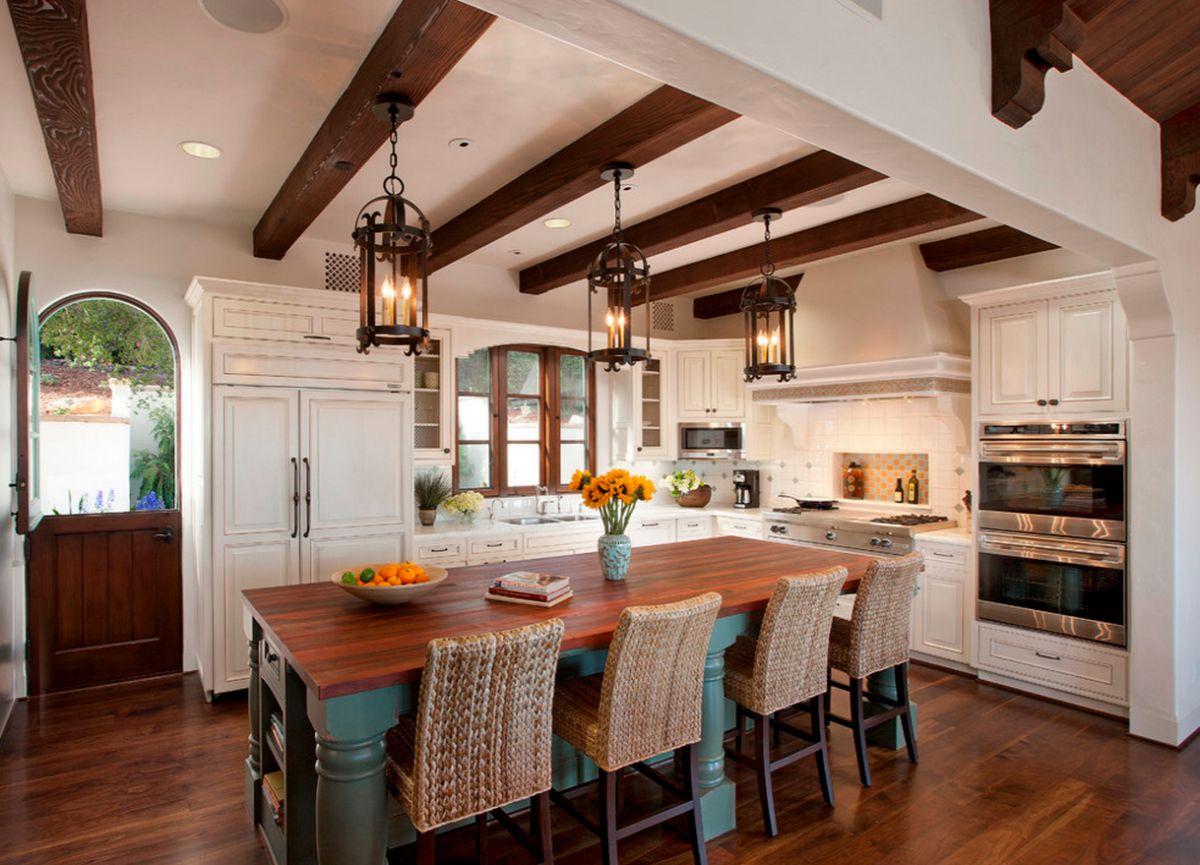 кухня в итальянском стиле коричневые балки на потолке
