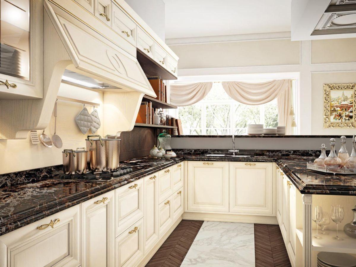 кухня в итальянском стиле со шторами
