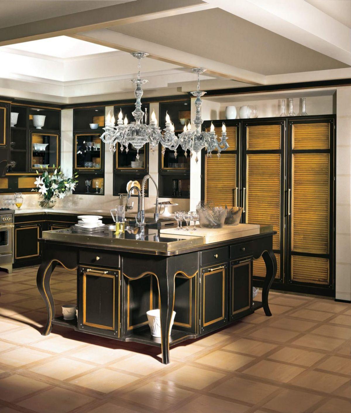 кухня в итальянском стиле чёрный гарнитур