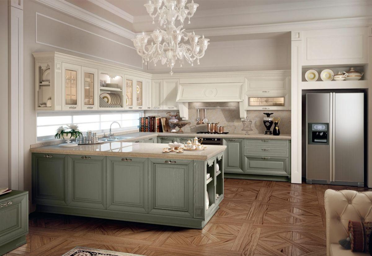 кухня в итальянском стиле двухцветный гарнитур