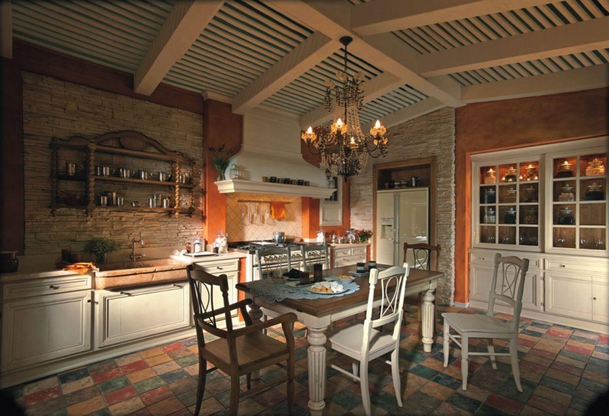 кухня в итальянском стиле интересный потолок