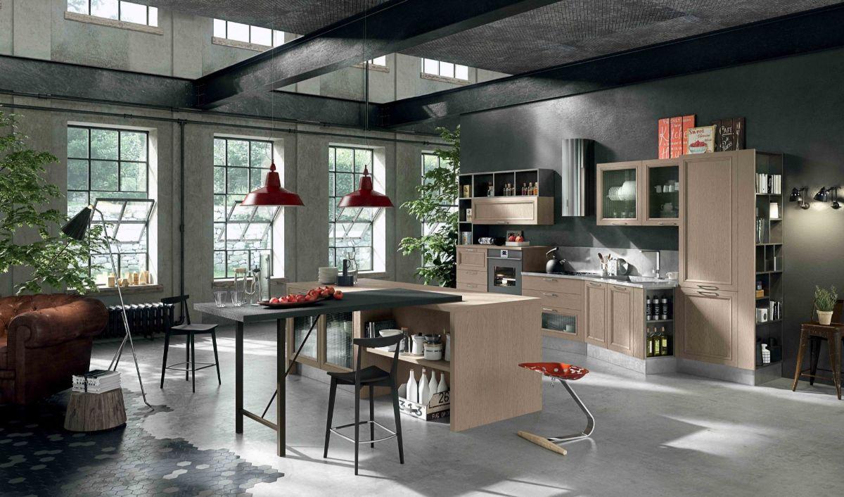 кухня в итальянском стиле лофт в промышленном здании