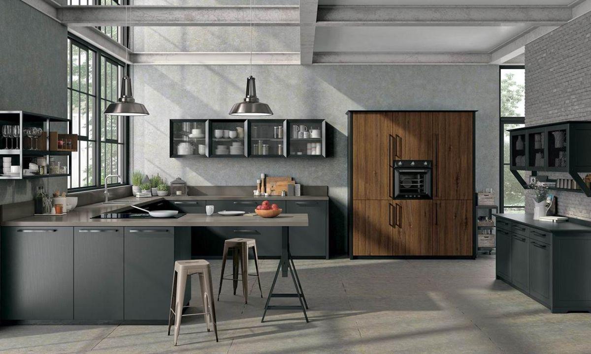 кухня в итальянском стиле с грубыми металлическими балками