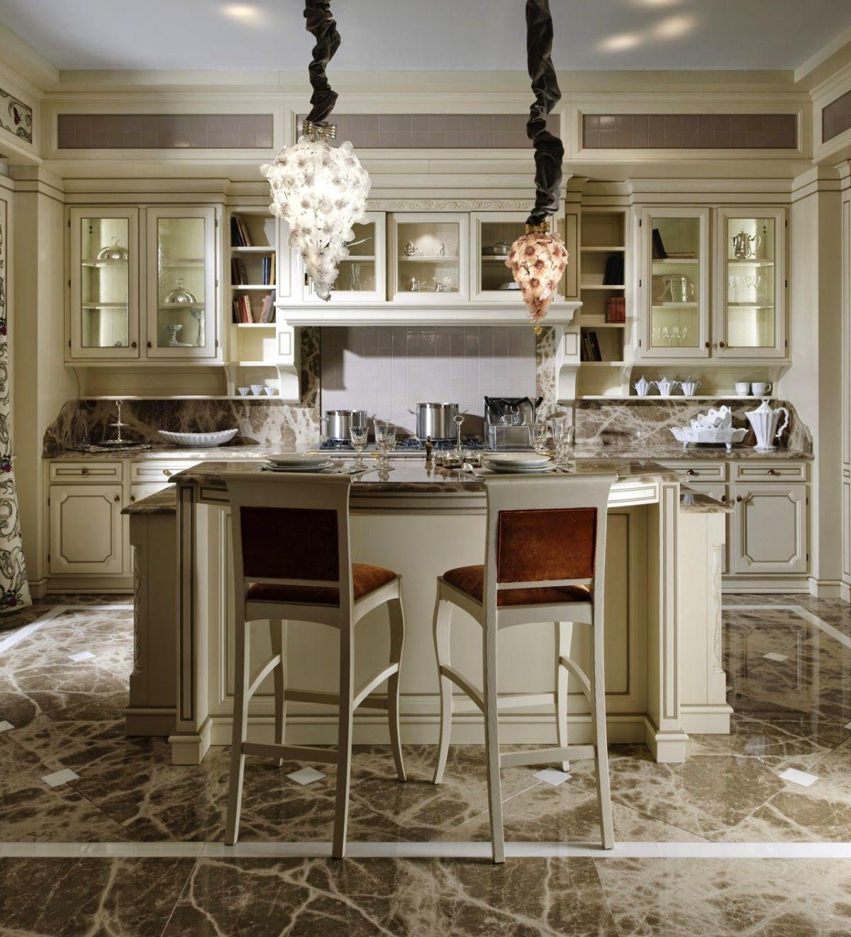 кухня в итальянском стиле с островным элементом