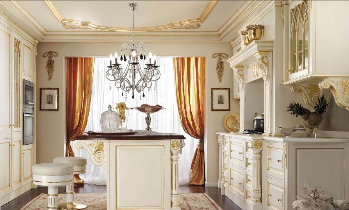 кухня в итальянском стиле с позолотой