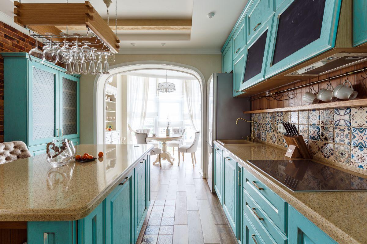кухня в итальянском стиле цвет морской волны