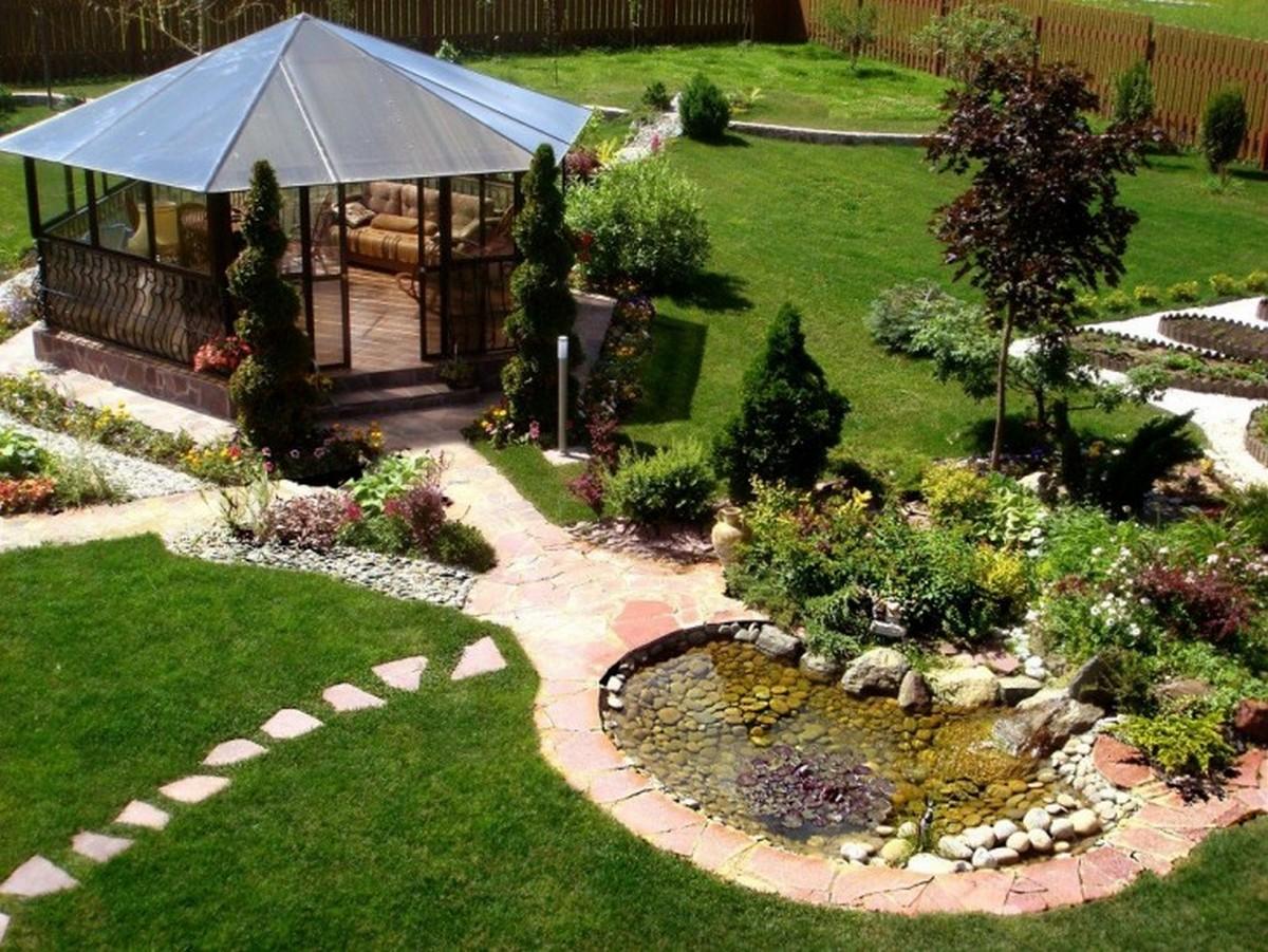 ландшафтный дизайн садового участка беседка и пруд