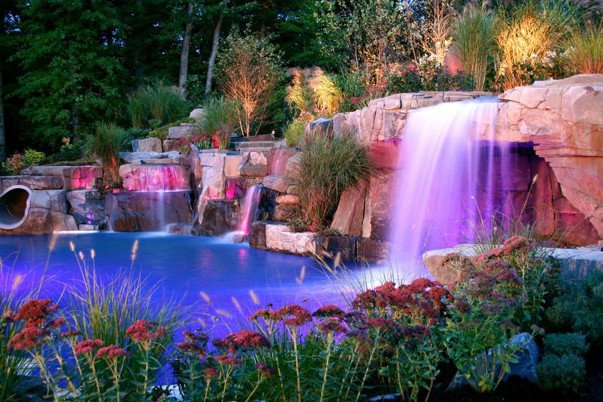ландшафтный дизайн садового участка онлайн искусственный водопад