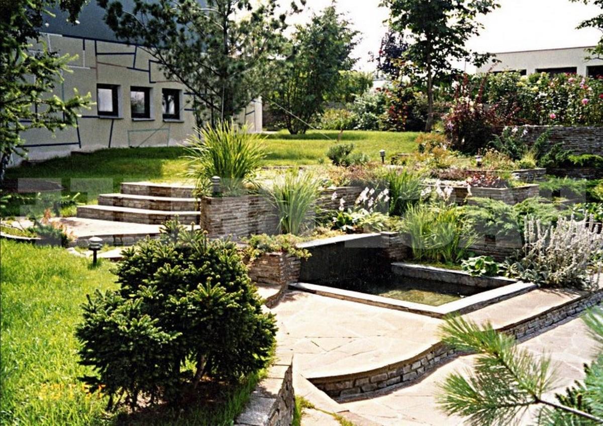 ландшафтный дизайн садового участка разноуровневое оформление