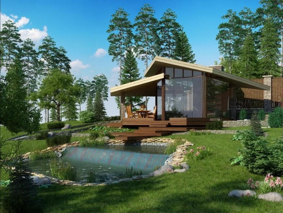 ландшафтный дизайн садового участка под дом в скандинавском стиле