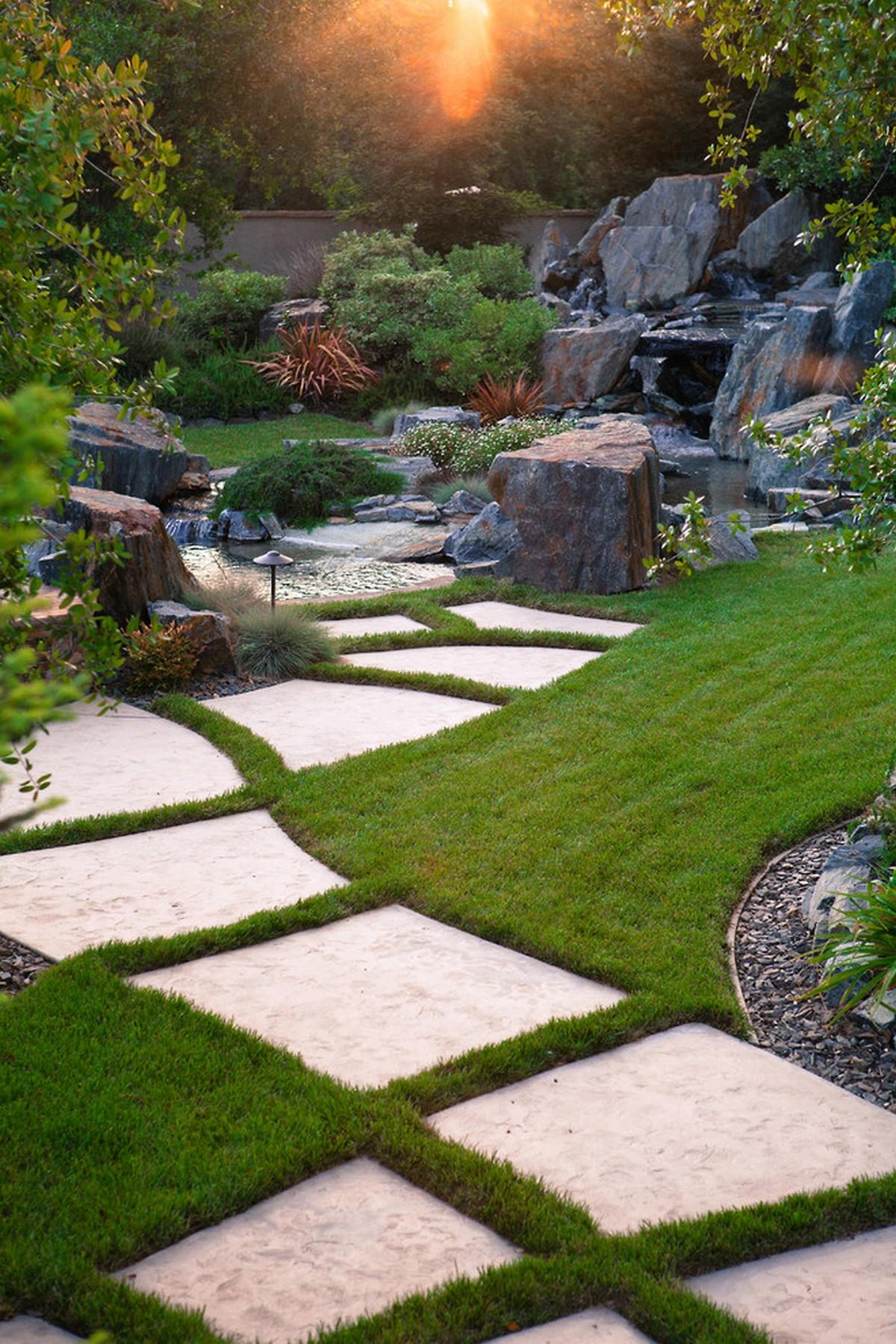 ландшафтный дизайн садового участка проект фигурная плитка