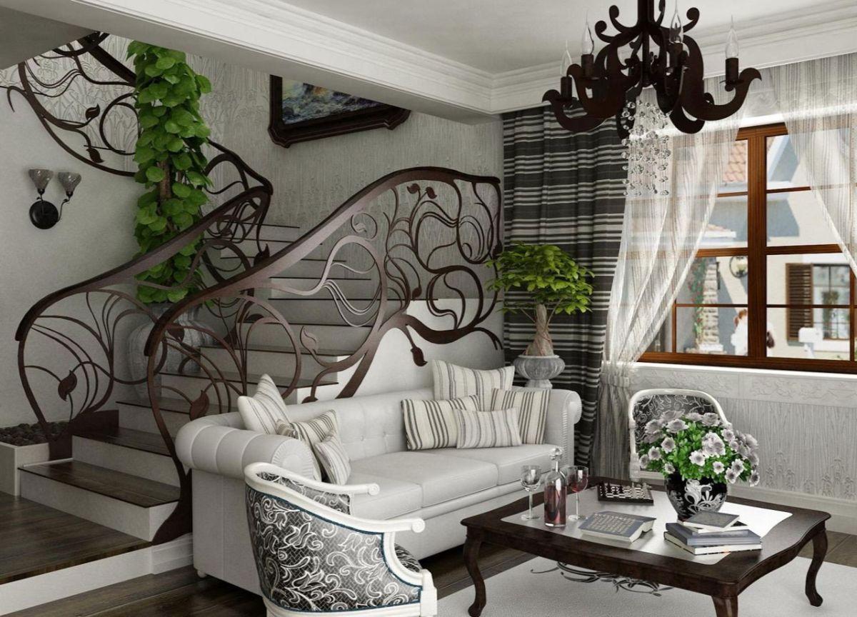 роскошный интерьер с перилами в стиле модерн