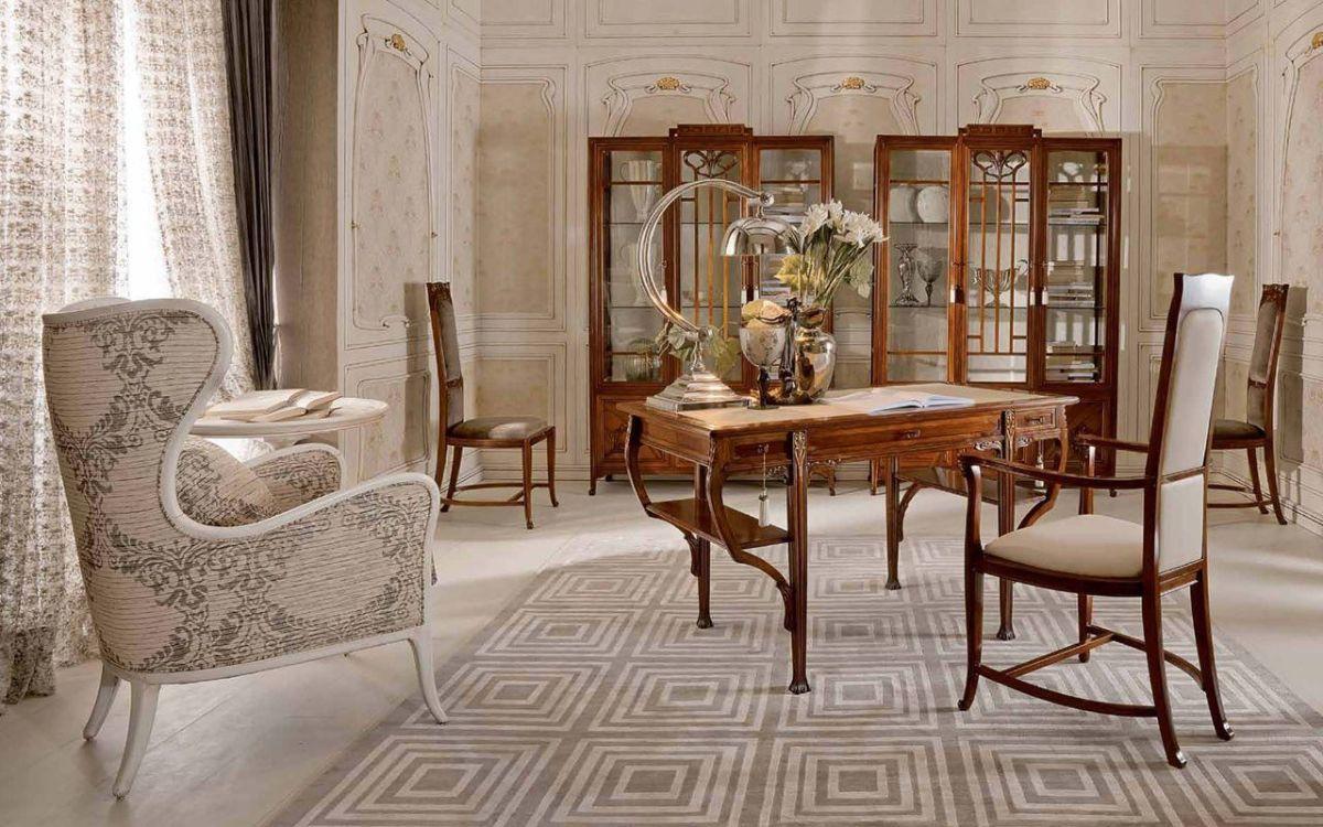 роскошный интерьер гостиной в стиле модерн в кремово бежевых тонах