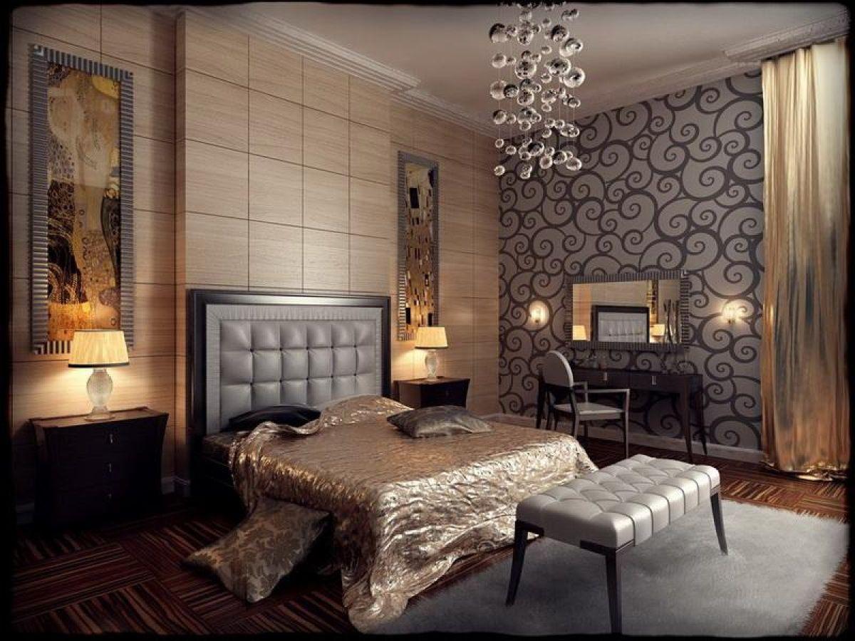 роскошный интерьер спальни в стиле модерн