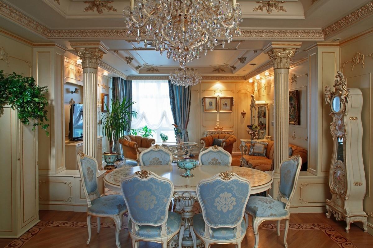 стиль барокко в интерьере квартиры столовая