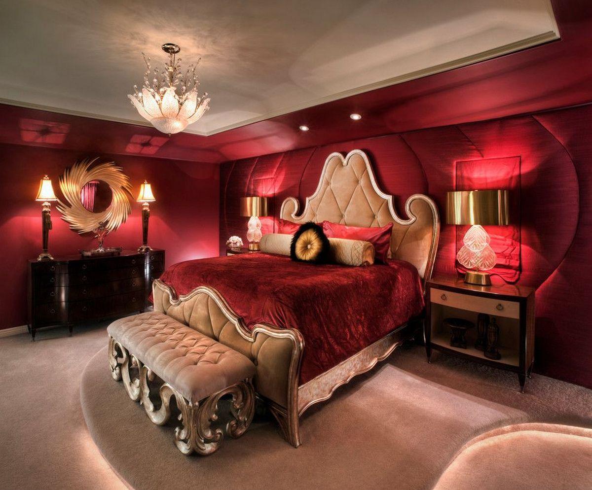 стиль барокко в современном интерьере красная спальня