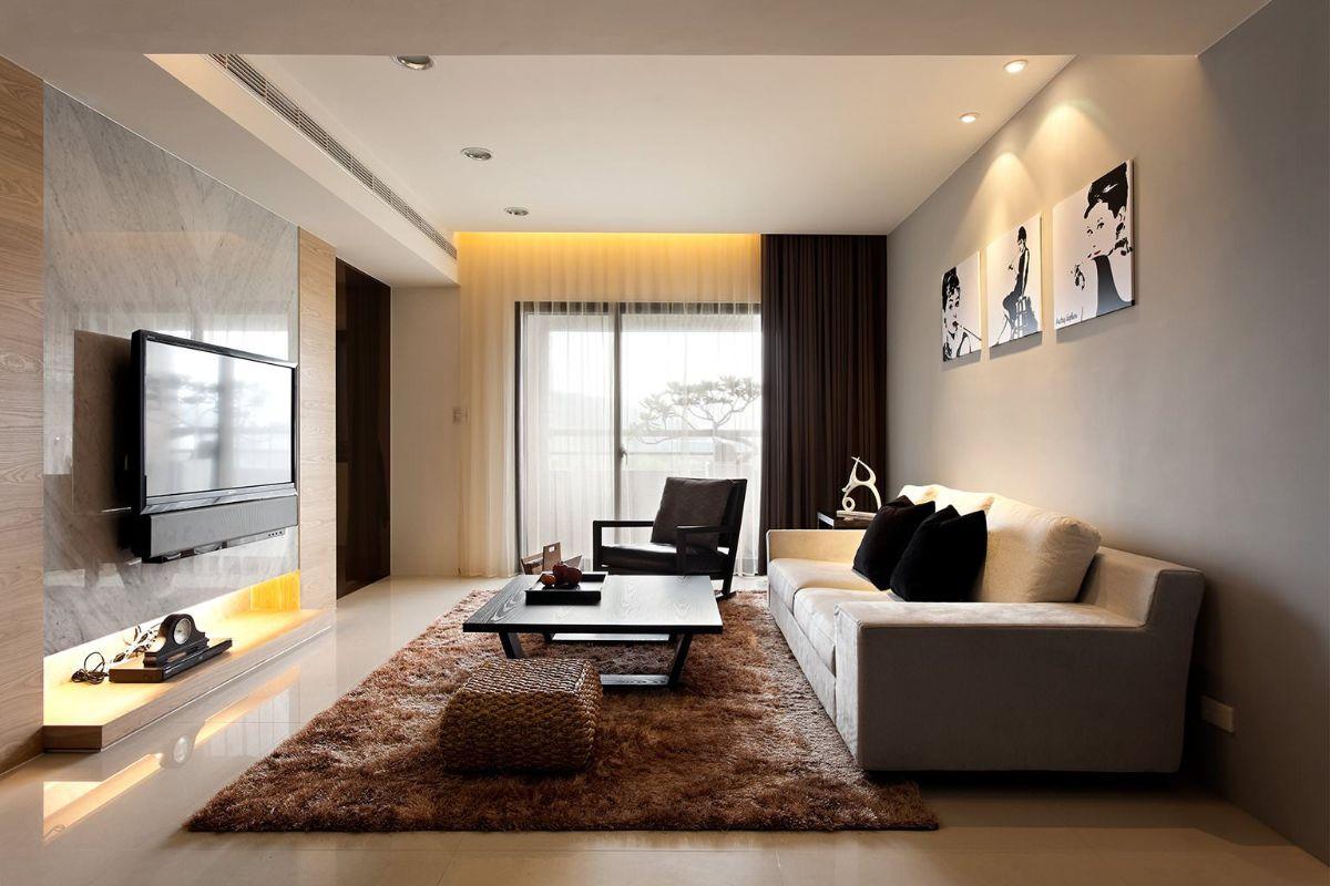 светлый интерьер гостиной в бежево коричневых тонах в стиле модерн