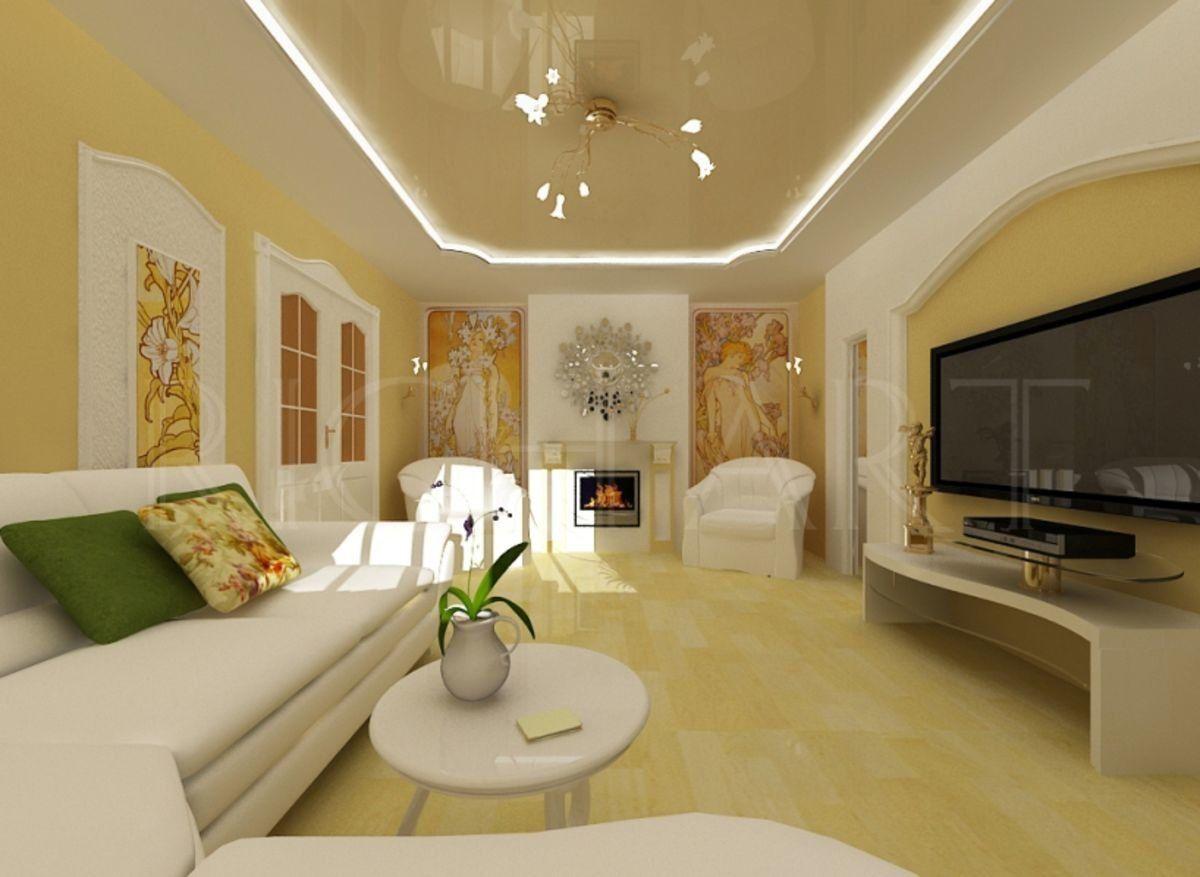 жёлтый интерьер в стиле модерн