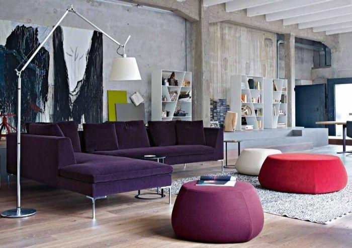23. бархатная мебель в стиле лофт
