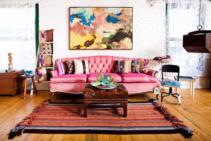 24. бархатная мебель в стиле бохо