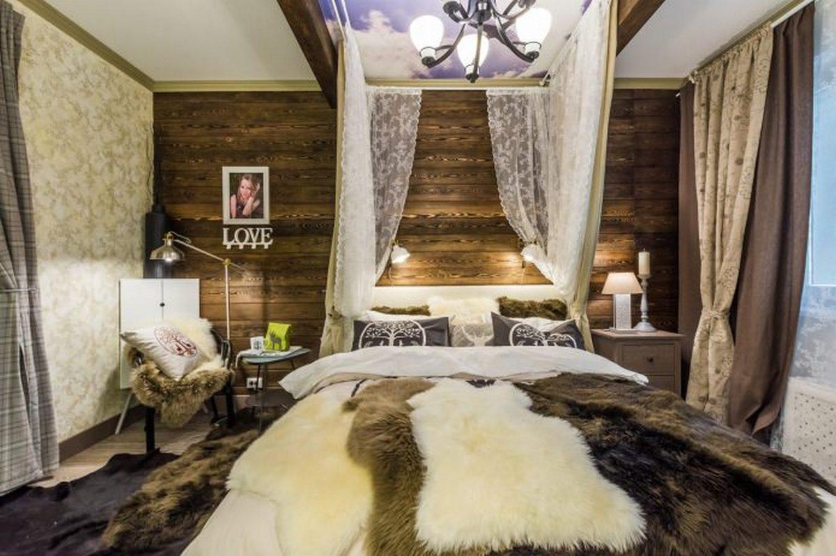 актуальный интерьер спальни в стиле шале фото