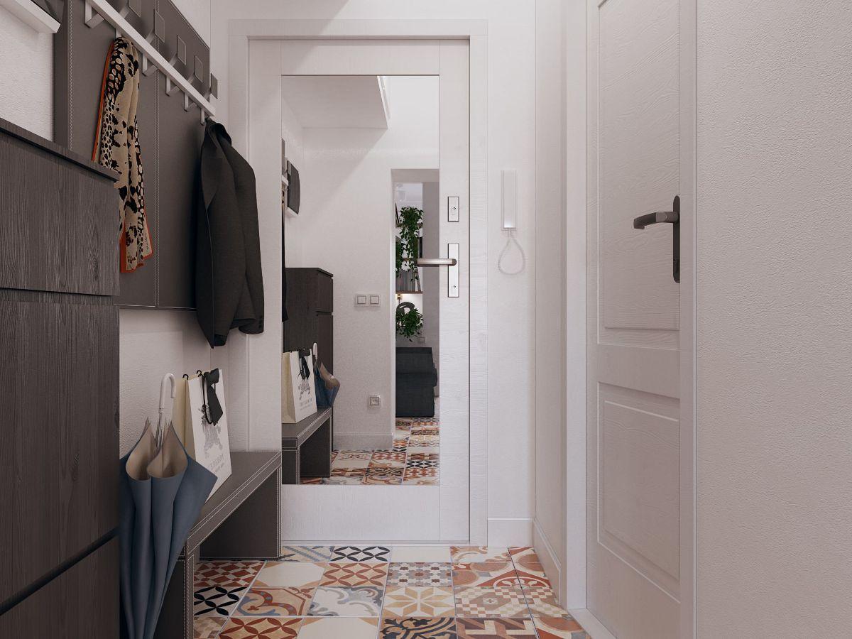 дизайн прихожей в скандинавском стиле дверь с зеркалом