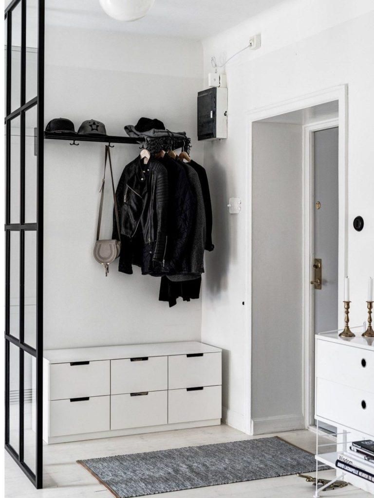 дизайн прихожей в скандинавском стиле лаконичная мебель