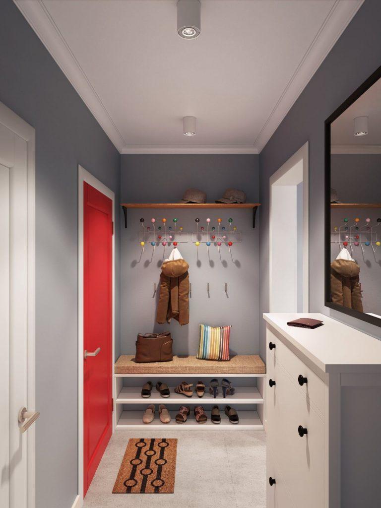 дизайн прихожей в скандинавском стиле малиновая дверь