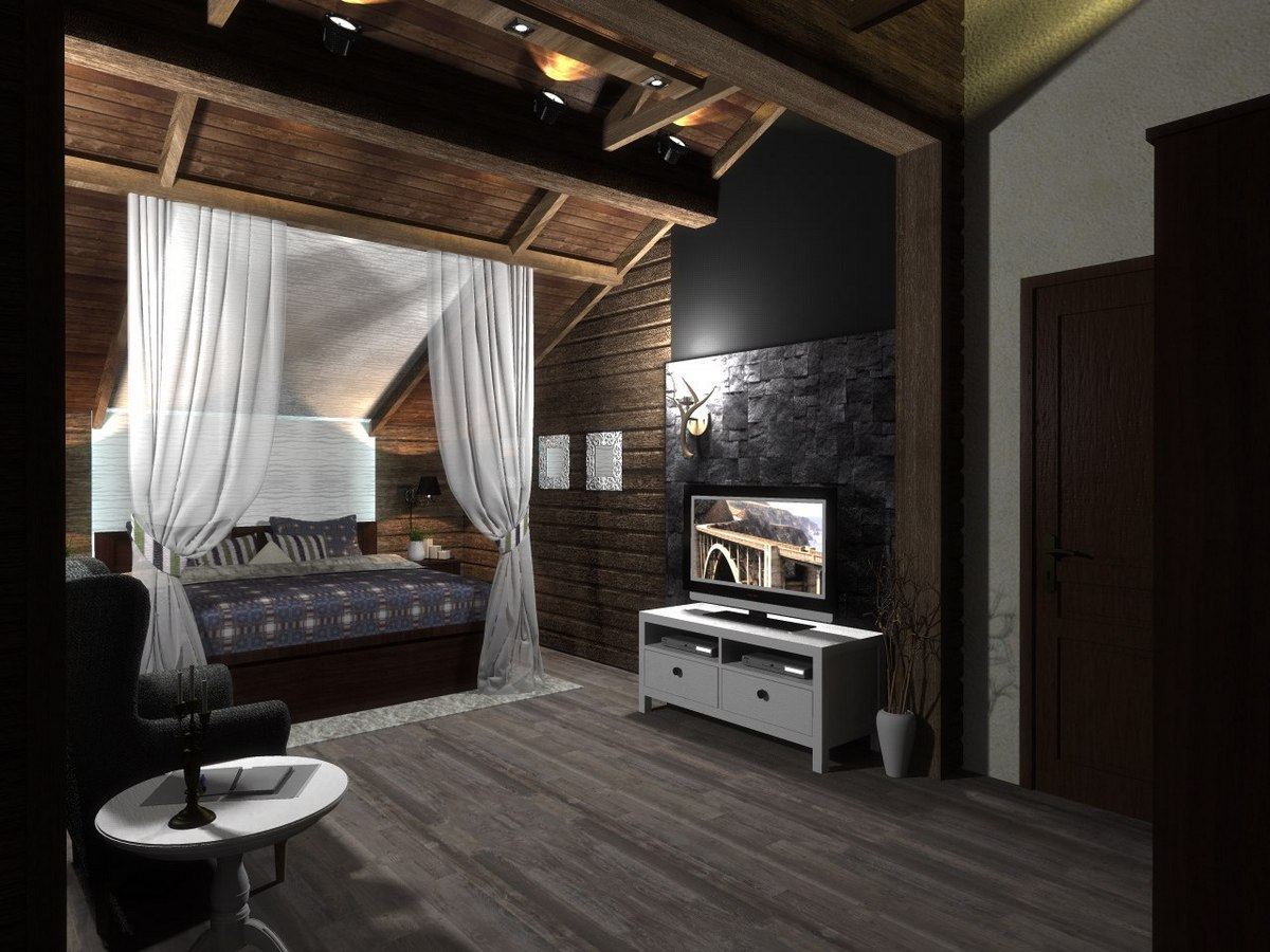 интерьер спальни в стиле шале паланкин