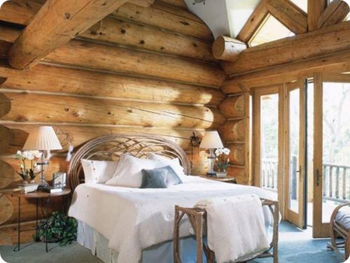 интерьер спальни в стиле шале панорамные окна