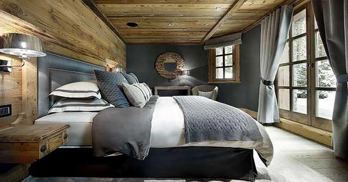 интерьер спальни в стиле шале пример