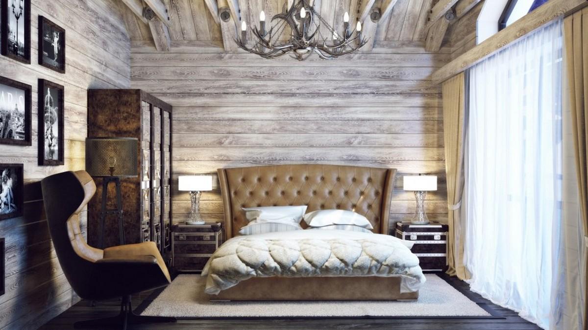 интерьер спальни в стиле шале