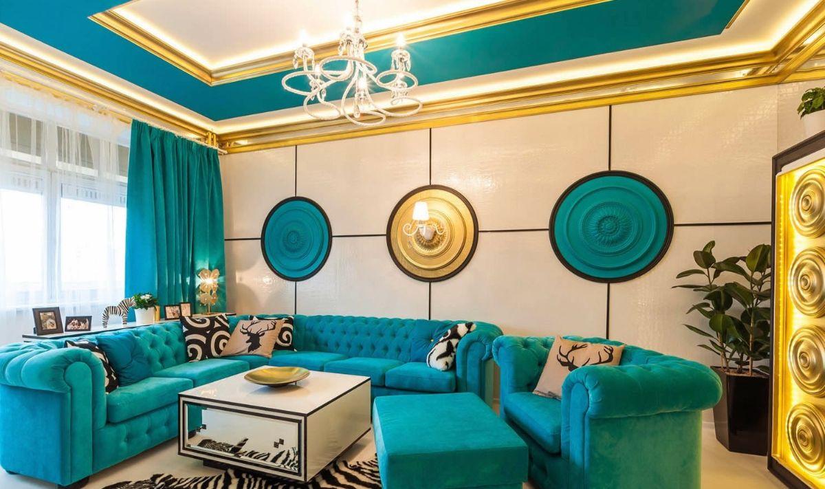 интерьер в ярких цветах бирюзовый дизайн фото