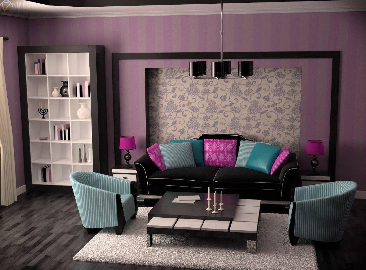 интерьер в ярких цветах дизайн гостиной с фиолетовыми обоями