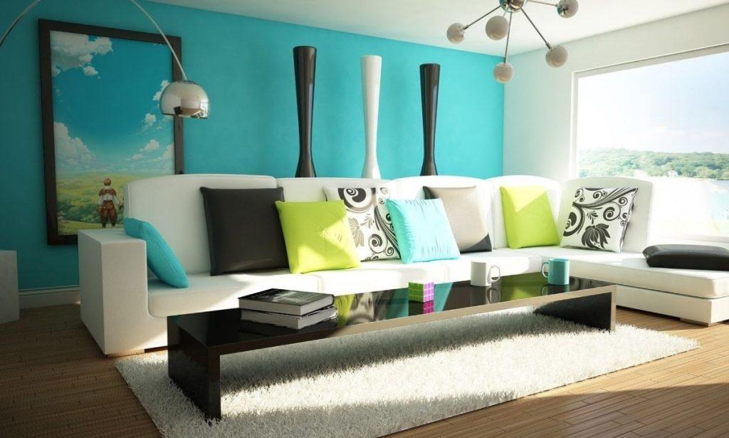 интерьер в ярких цветах дизайн с бирюзовой стеной