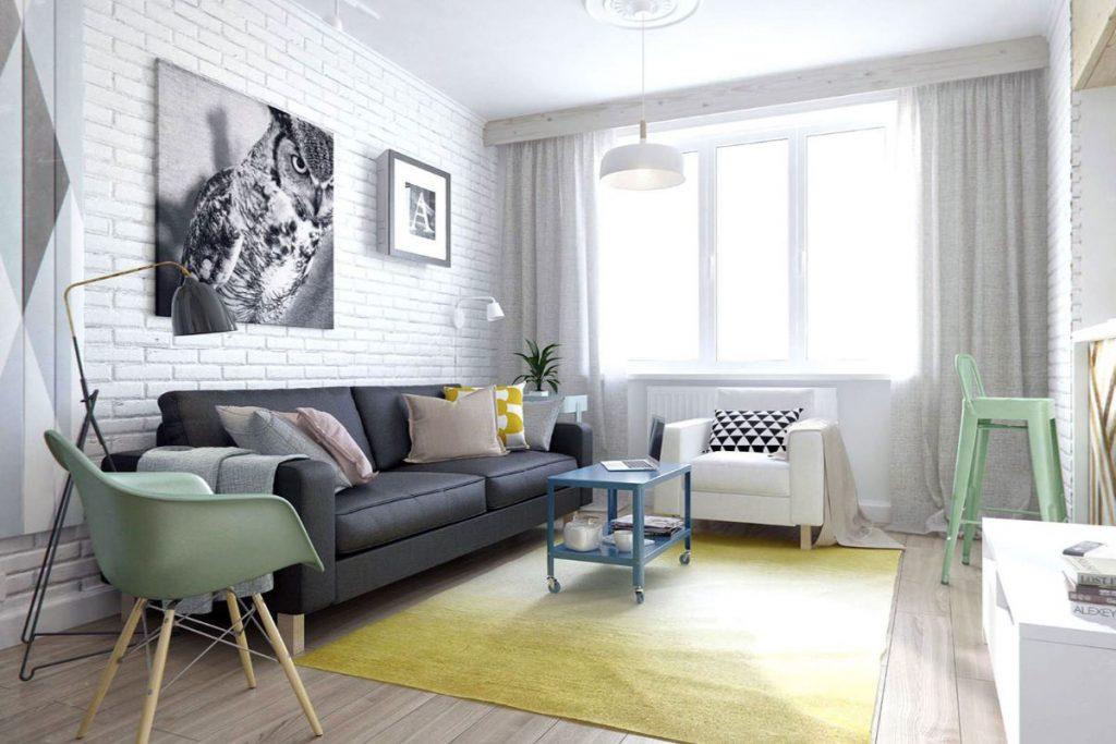 интерьер в ярких цветах дизайн с жёлтым ковром