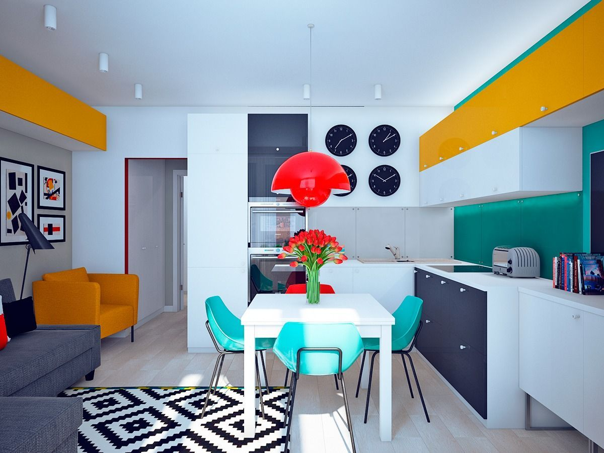 интерьер в ярких цветах дизайн студийного пространства
