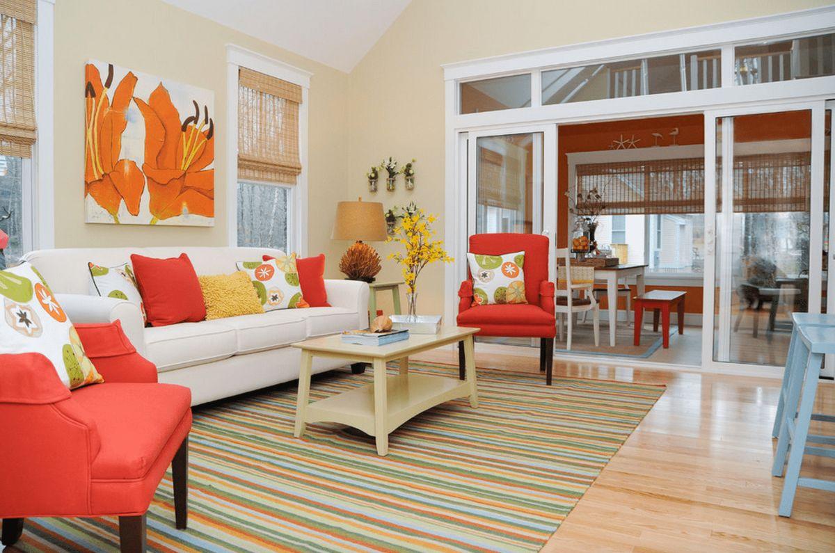 интерьер в ярких цветах дизайн в жёлто-оранжевой гамме