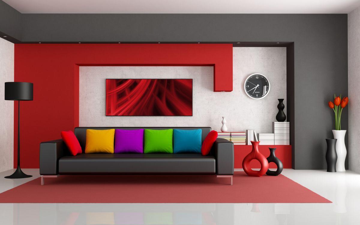 интерьер в ярких цветах эффектный дизайн
