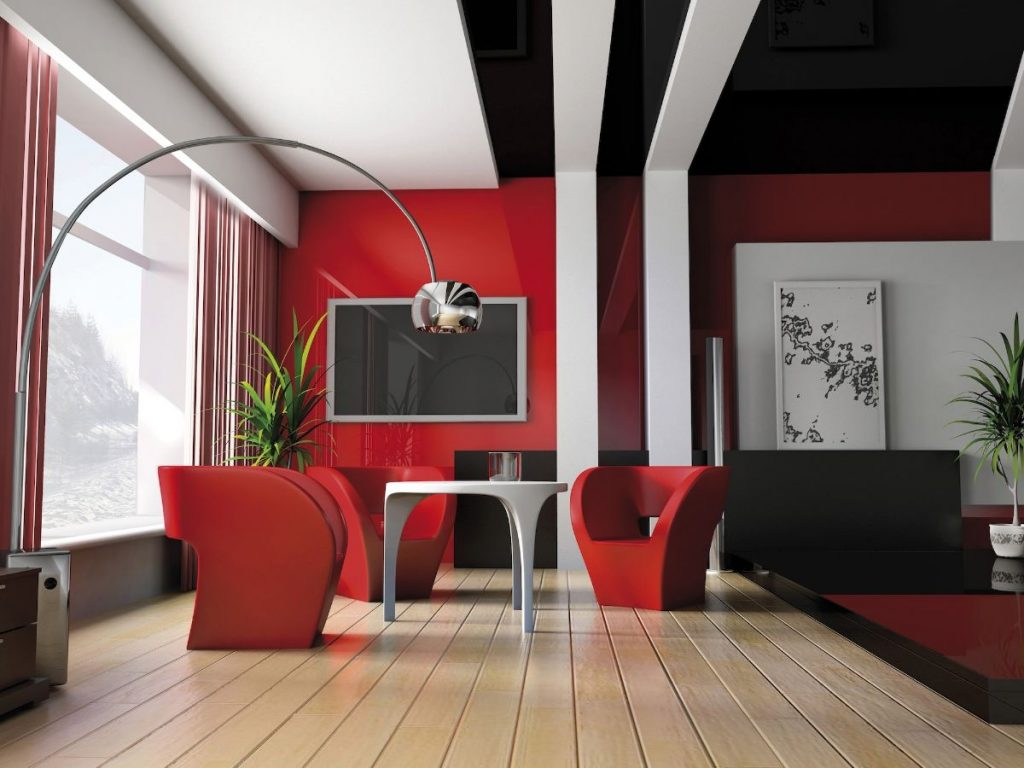 интерьер в ярких цветах гостиная в чёрно-красном цветовом решении