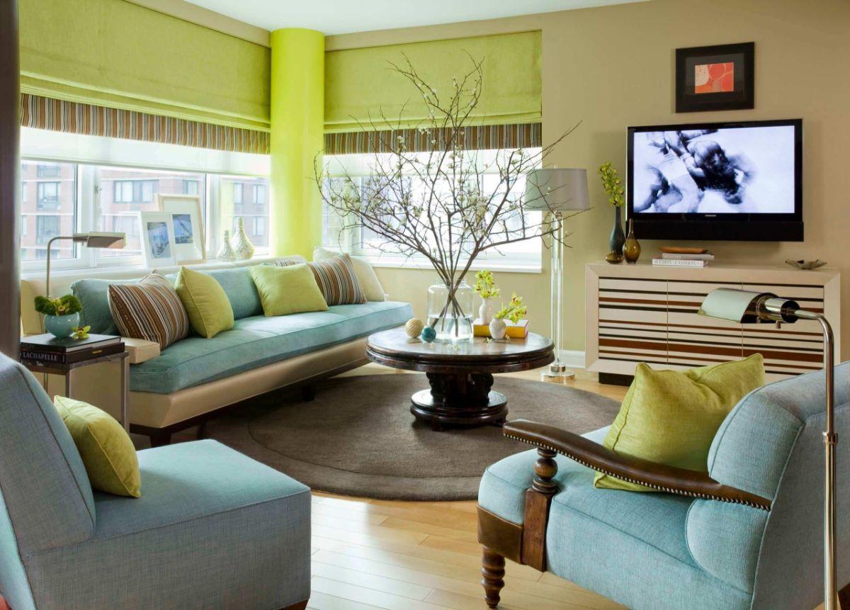 интерьер в ярких цветах гостиная в голубых и салатовых оттенках