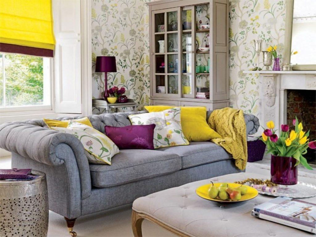 интерьер в ярких цветах красивая гостиная
