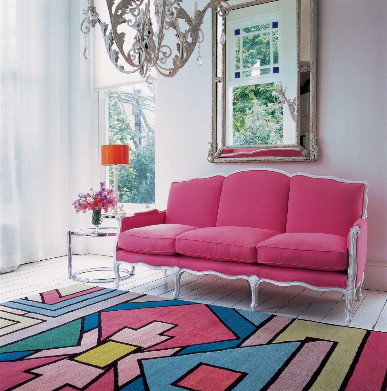 интерьер в ярких цветах милый дизайн гостиной