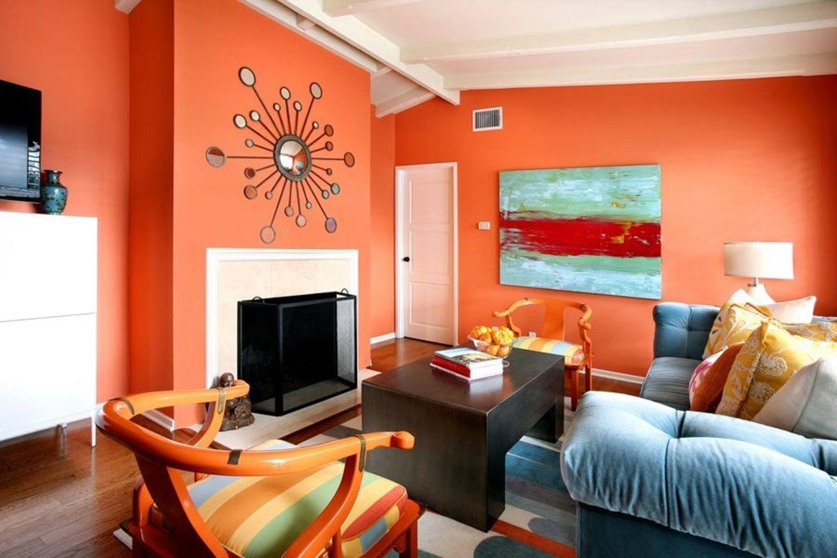 интерьер в ярких цветах оранжевая гостиная