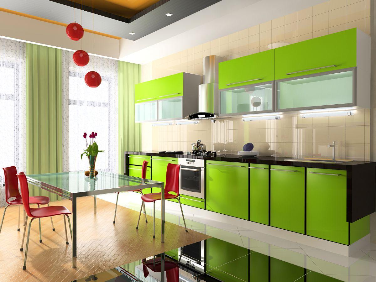 интерьер в ярких цветах салатовая кухня с яркими акцентами