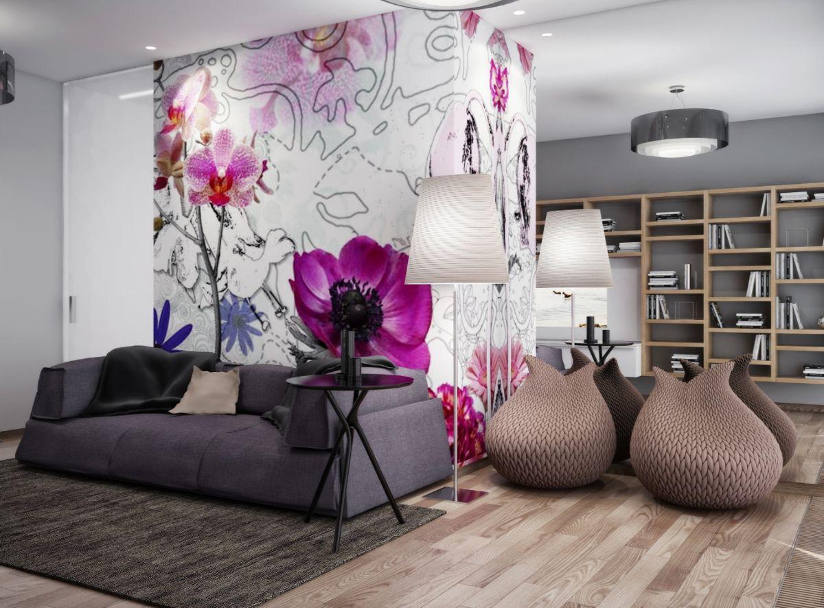 интерьер в ярких цветах стильный дизайн гостиной