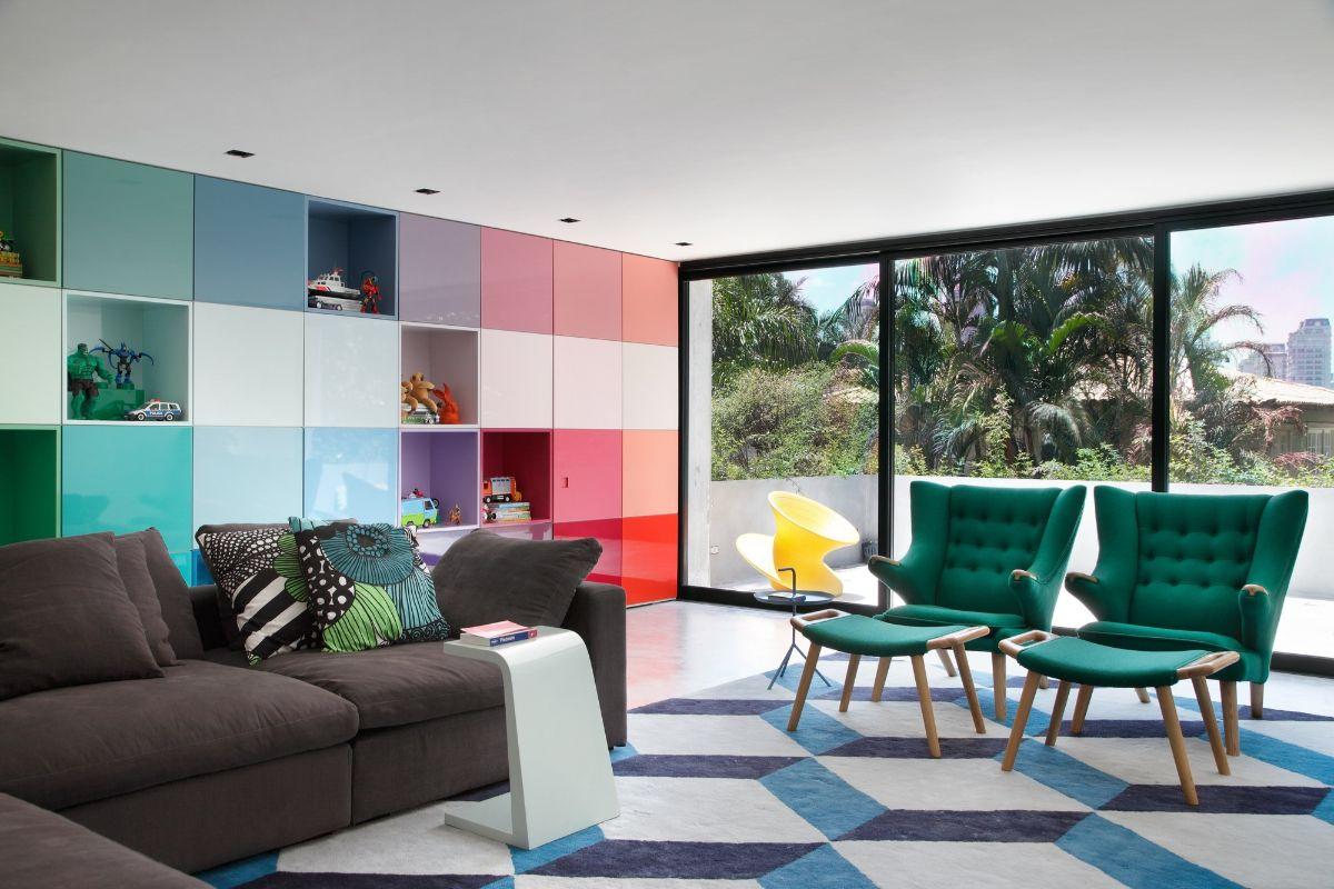 интерьер в ярких цветах структурный дизайн