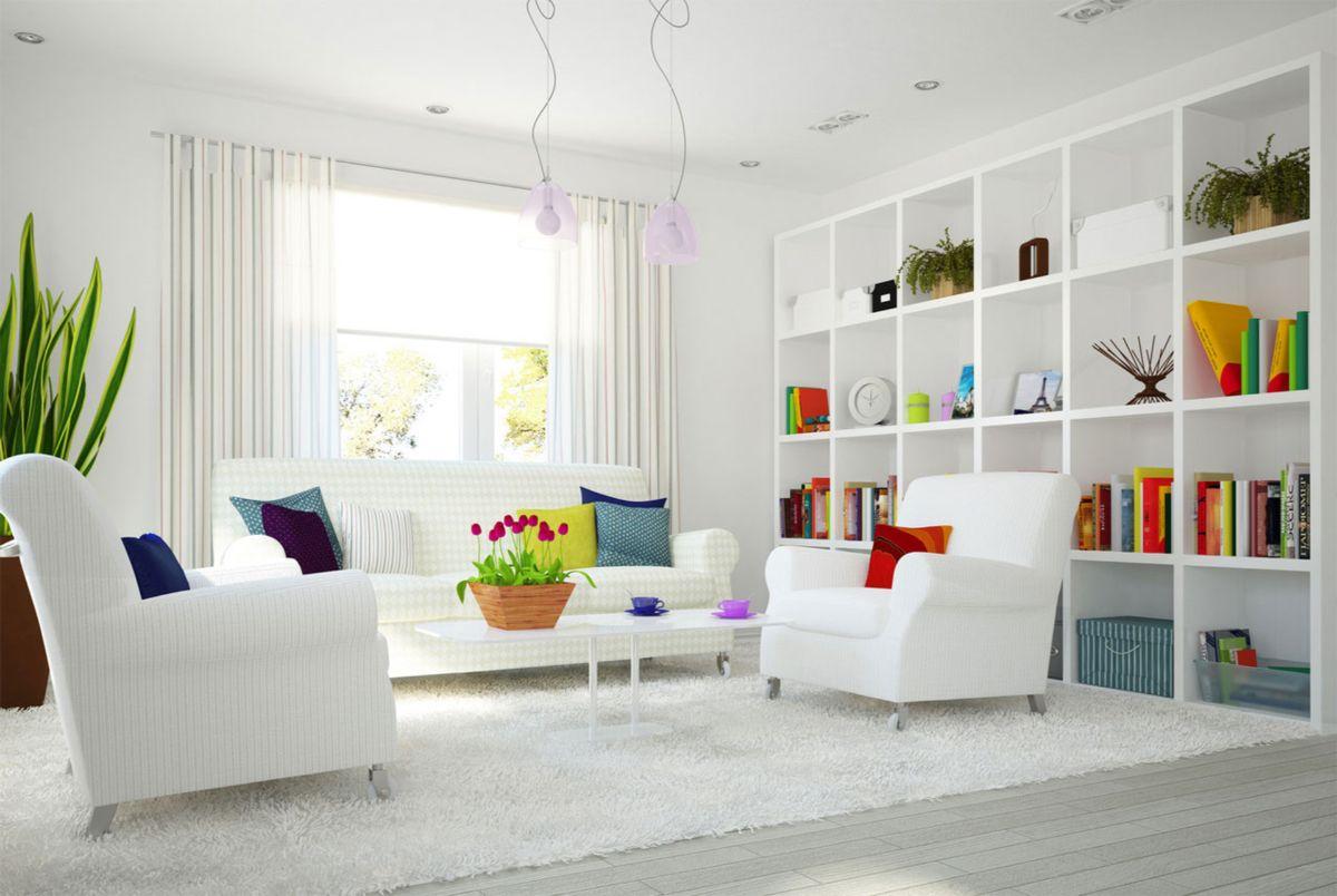 интерьер в ярких цветах цветные краски на белом фоне