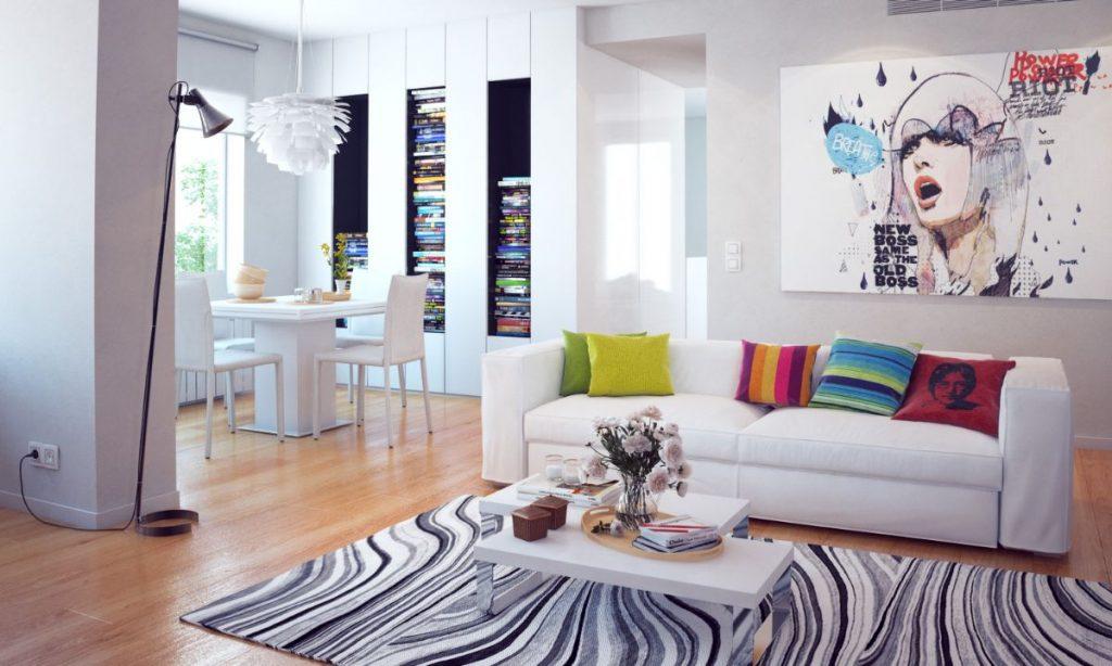 интерьер в ярких цветах в квартире студии